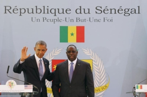 U.S. President Barack Obama participates in a joint news conference with Senegal's President Macky Sall at the Presidential Palace in Dakar